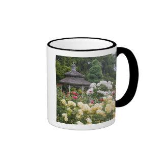 Roses in bloom and Gazebo Rose Garden at the Ringer Coffee Mug