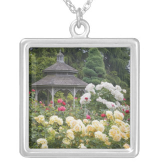 Roses in bloom and Gazebo Rose Garden at the Silver Plated Necklace