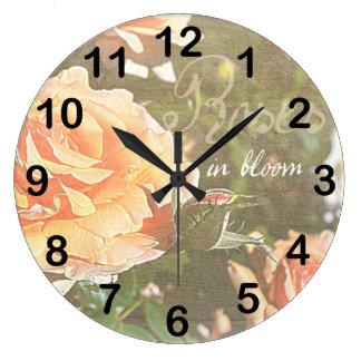 Roses in Bloom Round Clocks