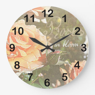 Roses in Bloom Large Clock