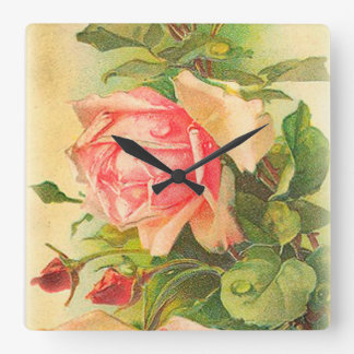 Roses in Bloom Square Wall Clock