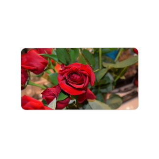 roses in bouquet address label