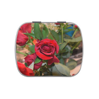 roses in bouquet jelly belly tin