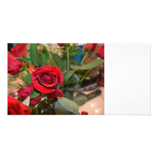 roses in bouquet photo card