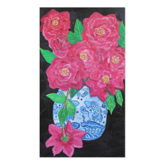Roses in Chinese Vase Double-Sided Standard Business Cards (Pack Of 100)