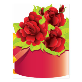 Roses in gift box postcard