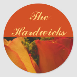 """""""Roses in Golden Orange and Yellow"""" [b] Classic Round Sticker"""
