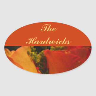 """""""Roses in Golden Orange and Yellow"""" [b] Oval Sticker"""