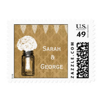 roses in mason jar, burlap wedding stamps