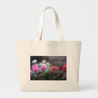 Roses in rain large tote bag