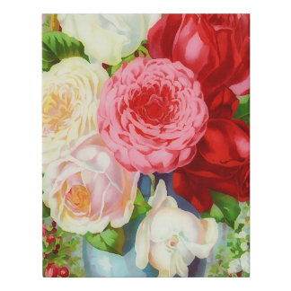Roses in the vase painting faux canvas print