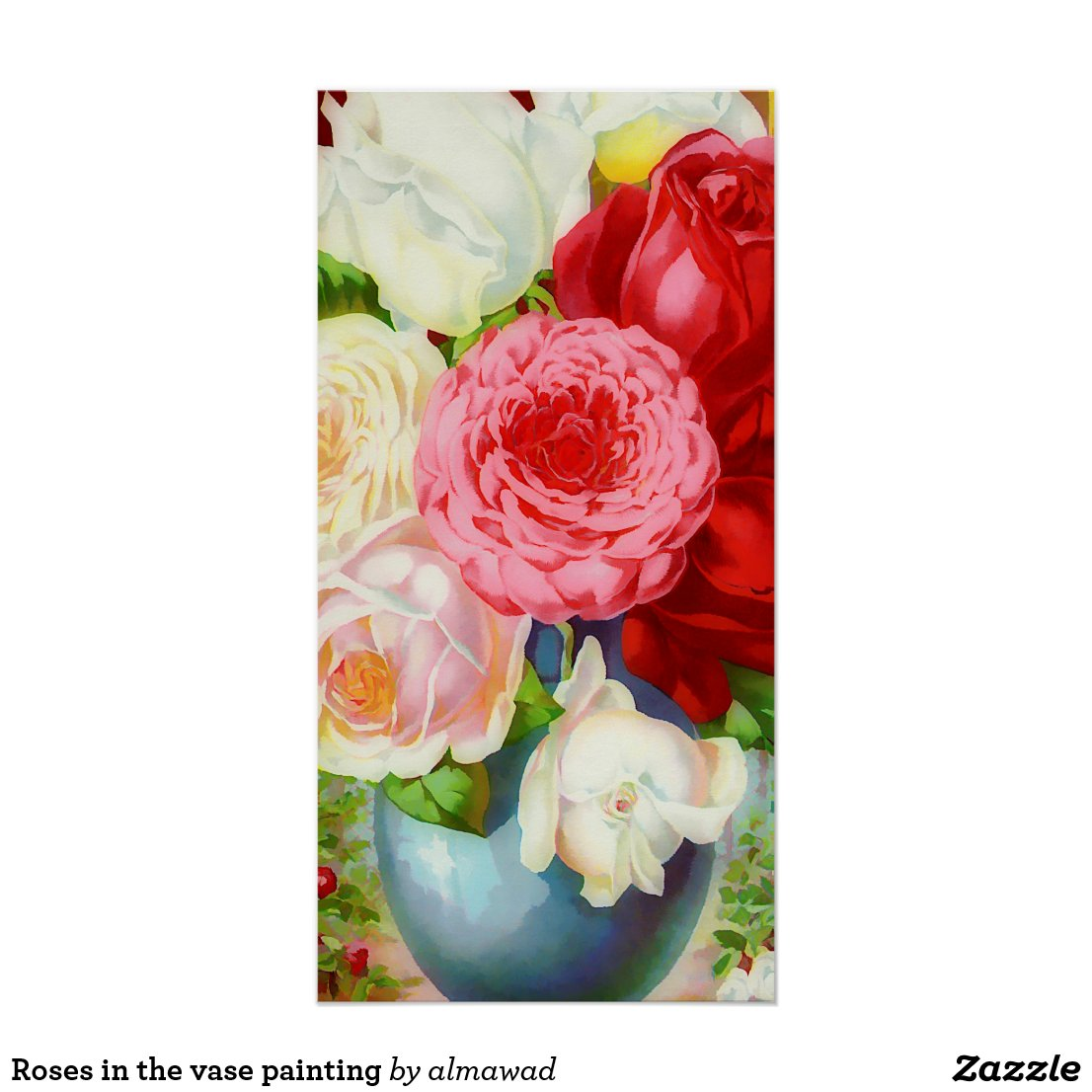 Roses in the vase painting poster