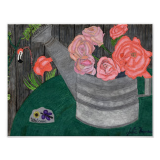 Roses In The Watering Can by Julia Hanna Poster