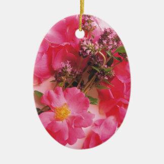Roses In Thyme Ceramic Ornament