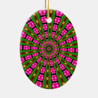 Roses In Wicker Abstract 3 Double-Sided Oval Ceramic Christmas Ornament