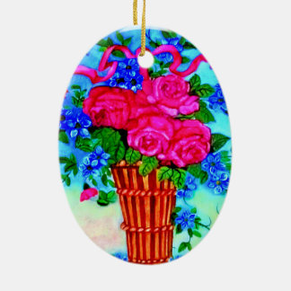 Roses In Wicker -Oil Painting Oval Ornament