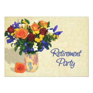 Roses Iris and Carnations Retirement Card
