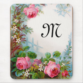 ROSES JASMINES MONOGRAM MOUSE PADS