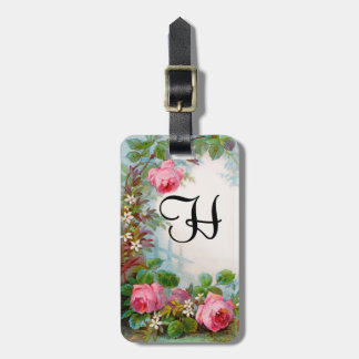 -ROSES & JASMINES MONOGRAM  Parchment Bag Tag