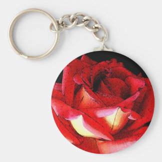 Roses Basic Round Button Keychain