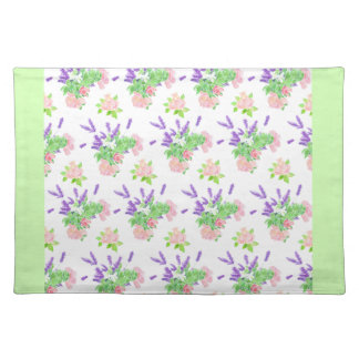 Roses, Lavender and Mock Orange Pattern on White Placemat