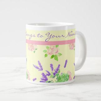 Roses, Lavender, Mock Orange Watercolour Pattern Giant Coffee Mug