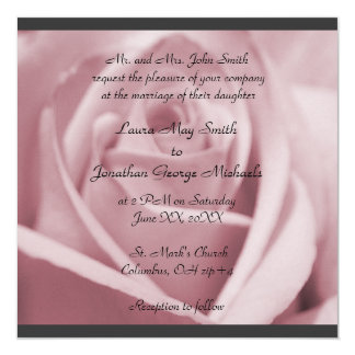 Roses -Lilac/pink -charcoal border -wedding invite