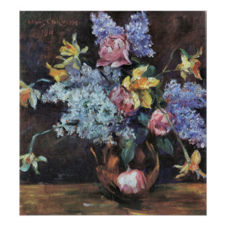 Roses, lilacs and daffodils by Lovis Corinth Poster
