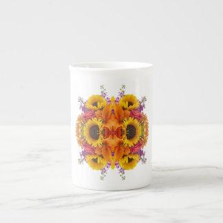 ROSES LILIES SUNFLOWERS ALSTROEMERIA FLORAL TEA CUP