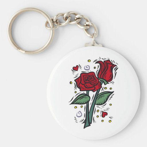 roses, love, pretty, peace. basic round button keychain