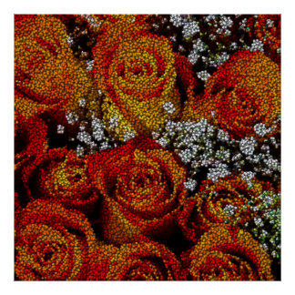 roses made from thousands balls poster