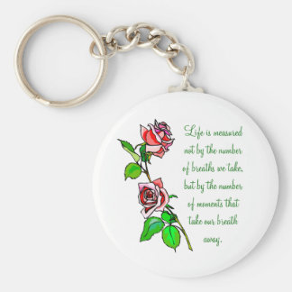 Roses Measure of Life Basic Round Button Keychain