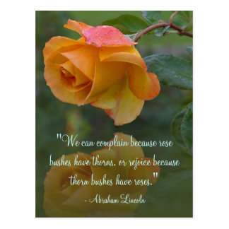 Roses Motivational Lincoln Quote Postcard