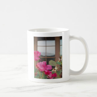 Roses & Mt. reflection in Clubhouse windows Coffee Mug