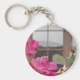Roses & Mt. reflection in Clubhouse windows Keychain