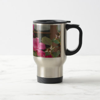 Roses & Mt. reflection in Clubhouse windows Travel Mug