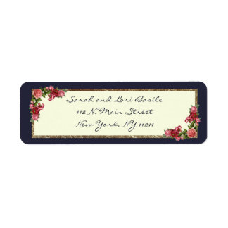 Roses Navy Blue and Gold Sweet 16 Invitations Label