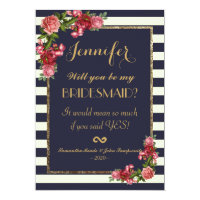 Roses Navy Stripes and Gold Bridesmaids Invitation
