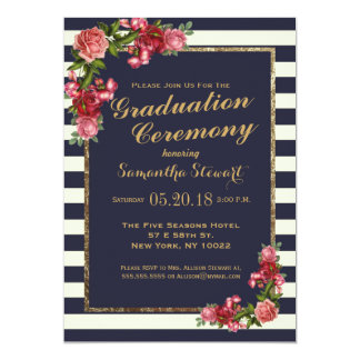roses navy stripes and gold graduation ceremony card - Graduation Ceremony Invitation