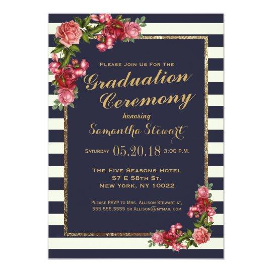 roses navy stripes and gold graduation ceremony invitation zazzle com