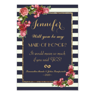 Roses Navy Stripes and Gold Maid of Honor Invites