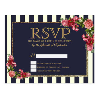 Roses Navy Stripes and Gold RSVP Postcards