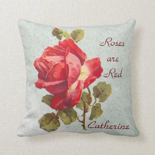 Roses nombrado es almohada de tiro roja