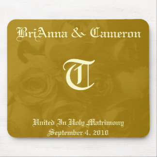 Roses Of Gold - (Names, Monogram and Date) Mouse Pad