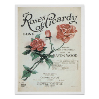 Roses of Picardy Vintage Songbook Cover Poster