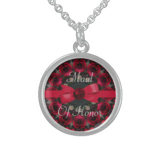 Roses Of Red Mandala Wedding Sterling Silver Necklace