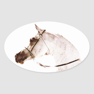 Roses on a Grey Horse Oval Sticker