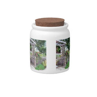 Roses on a Weathered Picket Fence Candy Jar