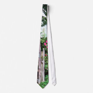 Roses on a Weathered Picket Fence Neck Tie