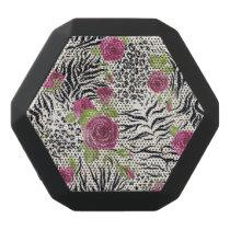 Roses On Animal Pattern Black Bluetooth Speaker